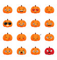 set funny pumpkin emoticons for autumn design vector image