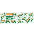 set national flag india in vector image