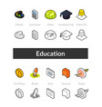 set of isometric icons in otline style colored vector image vector image