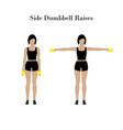 side dumddell raises exercise vector image vector image