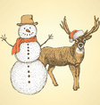 Sketch snowman and raindeer in vintage style