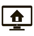 Smart home on monitor icon simple style