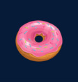 strawberry donut with sprinkles topping isolated vector image