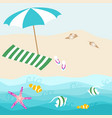 summer card design with parasol shell towel vector image