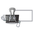 thumbs up with board binder clip in the character vector image vector image