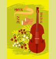 various musical instruments on a background vector image vector image