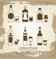 vintage grunge poster with alcoholic drink icons vector image