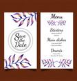watercolor floral menu card vector image vector image