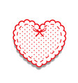 white and red paper cut heart sticker with ribbon vector image vector image