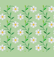 white flower and leaves on green background vector image vector image