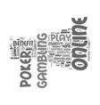 why online poker is a lot of fun text word cloud vector image vector image