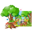wild animals in the forest vector image vector image