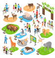 zoo isometric big set vector image vector image