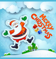 christmas snowy landscape with happy santa and vector image