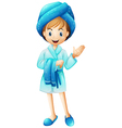 A fresh girl with her bathrobe vector image vector image