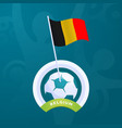 belgium flag pinned to a soccer ball european vector image