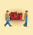 breaking news workers carry on a stretcher vector image vector image