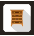 Brown chest of drawers icon flat style vector image vector image
