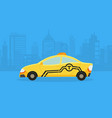 cars on city panorama taxi service yellow vector image