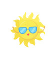 cartoon character of yellow sun in sunglasses vector image