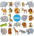 cartoon wild animal characters large set vector image vector image