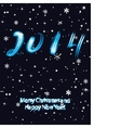 Christmas greeting card with 2014 numbers in neon vector image