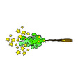 comic cartoon magic wand casting spell vector image vector image