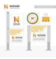 company ad banner design and card with orange vector image vector image