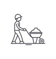 construction works line icon concept construction vector image vector image