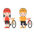 cute character biker and bicycle flat design vector image