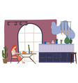 drawing woman sitting in kitchen vector image