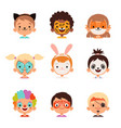 face painting avatars kids happy portraits vector image vector image