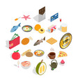 filling for bun icons set isometric style vector image vector image