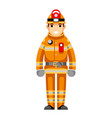 firefighter flat design character isolated vector image