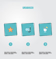 flat icons drink aqualung sea star and other vector image vector image