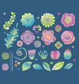 flower elements set succulent rose leaf vector image