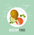 fresh chicken and tomato cucumber healthy food vector image vector image