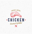 fresh local poultry meat typography label emblem vector image vector image