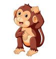 funny monkey sitting and thinking vector image vector image