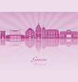 gorzow skyline in purple radiant orchid vector image vector image