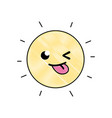 grated funny and cute sun kawaii weather vector image vector image