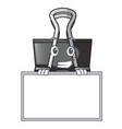 grinning with board binder clip in the character vector image vector image