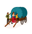 gypsy family sitting on wagon flat vector image