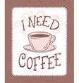 hand drawn coffee lettering banner with brown vector image vector image
