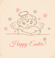 Hand drawn little angel with flowers vector image