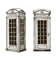 Hand drawn London phone booth Sketch vector image