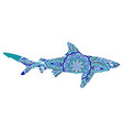 hand-drawn shark with ethnic doodle pattern vector image