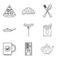 Have supper icons set outline style vector image