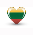 Heart-shaped icon with national flag of Lithuania vector image vector image