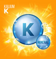 k kalium mineral blue pill icon vitamin vector image vector image